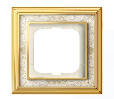 Латунь полированная/белая роспись (металл/стекло)