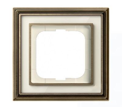 Латунь античная/белое стекло (металл/стекло)
